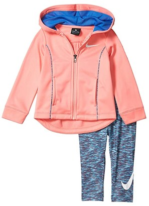 Nike Kids Therma-FITtm Full Zip Hoodie and Dri-FITtm Leggings Two-Piece Set (Toddler) (Light Photo Blue) Girl's Active Sets