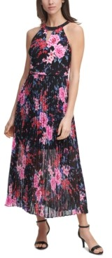 GUESS Pleated Chiffon Halter Maxi Dress