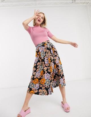 Monki Sigrid floral print button through midi skirt in multi