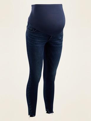 Old Navy Maternity Full-Panel Rockstar Super Skinny Cut-Off Jeans