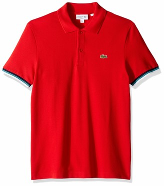 Lacoste Men's Short Sleeve 2 Ply Pique Slim Fit Striped Polo