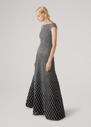 St. John Novelty Diamond Knit Open Back Gown