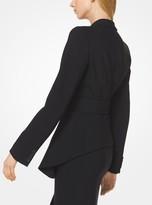 Michael Kors Stretch Pebble-Crepe Draped Blazer