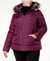 Celebrity Pink Trendy Plus Size Faux-Fur-Trim Puffer Coat