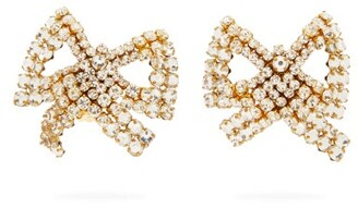 Rebecca De Ravenel Tie Me Up Crystal-embellished Clip Earrings - Crystal