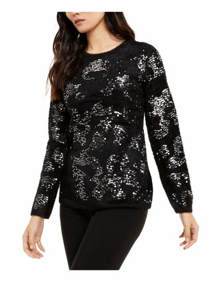 Alfani Womens Black Sequined Long Sleeve Crew Neck Top UK Size:12