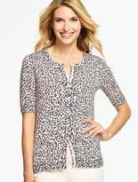Talbots Elbow-Sleeve Charming Cardigan- Animal-Print