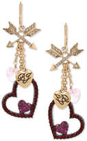 Betsey Johnson Two-Tone Crystal Heart Dangle Drop Earrings