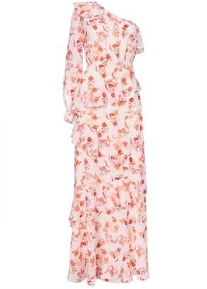 True Decadence Peach Orange Floral One Shoulder Maxi Dress