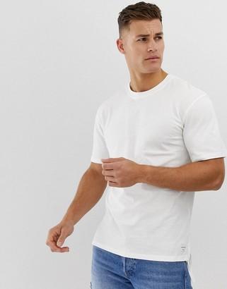 Jack and Jones Originals longline t-shirt with split hem details-White