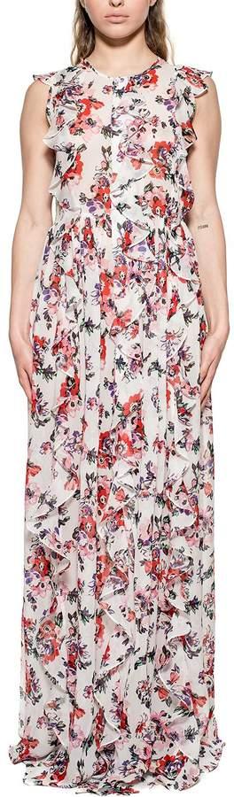 MSGM White Floral Print Silk Long Dress