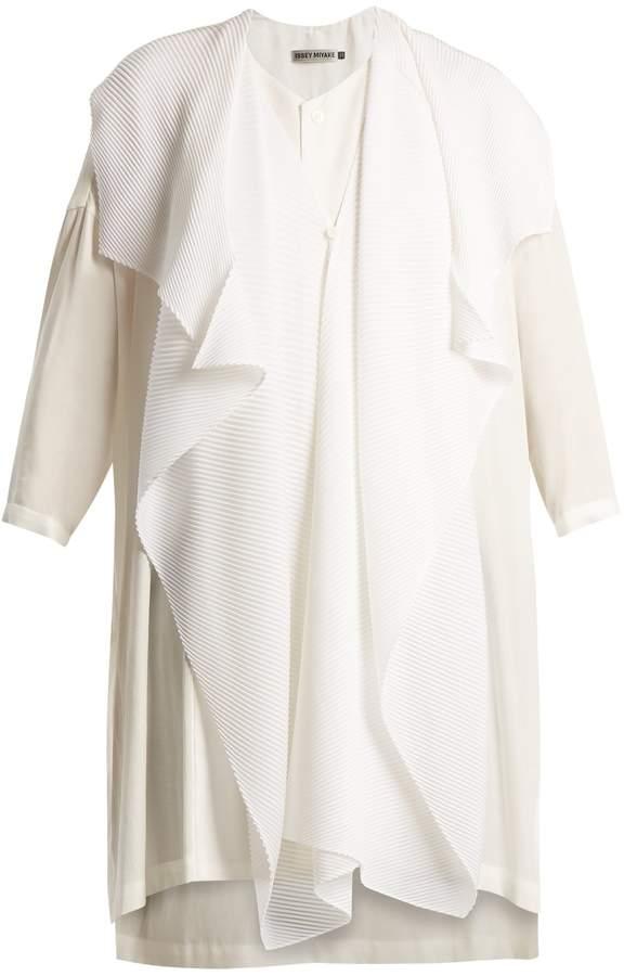Issey Miyake Pleated-overlay cotton tunic top