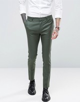 Asos Super Skinny Suit Trousers In Khaki