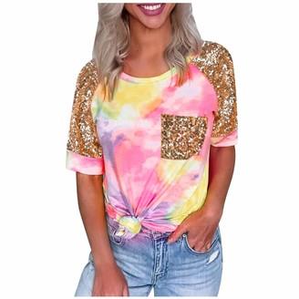 DENGZI Women Summer Tie-Dye T-Shirt Patchwork Sequin Pocket Short Sleeve Casual Tops Blouse Hot Pink