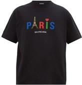 Balenciaga Paris-print Cotton-jersey T-shirt - Mens - Black