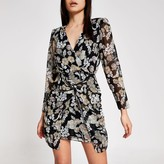 River Island Womens Black floral twist front V neck mini dress