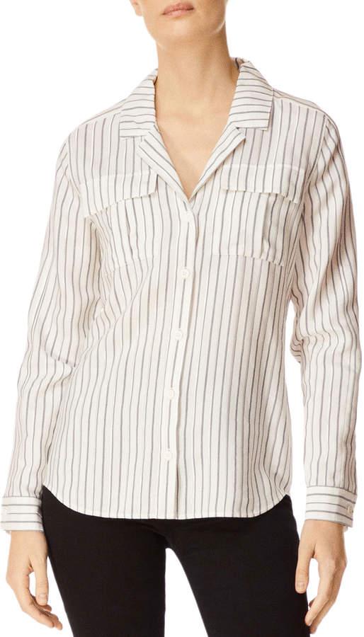 J Brand Peyton Striped Button-Down Utility Shirt w/ Lace-Up Back