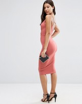 Asos Strappy Back Wrap Front Midi Body-Conscious Dress