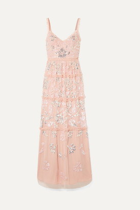 Needle & Thread Ruffled Sequin-embellished Tulle Gown - Baby pink