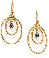 Gurhan Hoopla Black Diamond & 24K Yellow Gold Drop Earrings