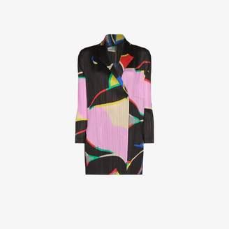 Pleats Please Issey Miyake graphic print pleated jacket
