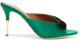Malone Souliers Paige Velvet-trimmed Satin Mules - Womens - Green