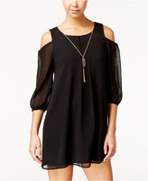 As U Wish Juniors' Cold-Shoulder Shift Dress with Necklace