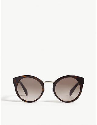 Prada Womens Brown Pr05T Havana Round-Frame Sunglasses