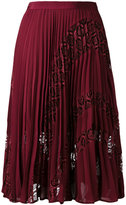 Self-Portrait lace appliqué pleated skirt - women - Polyester/Spandex/Elastane - 6