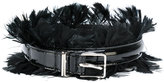 Ermanno Scervino embellished belt - women - Leather/Patent Leather/Feather - 70