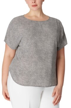 Anne Klein Plus Size Printed Short-Sleeve Top
