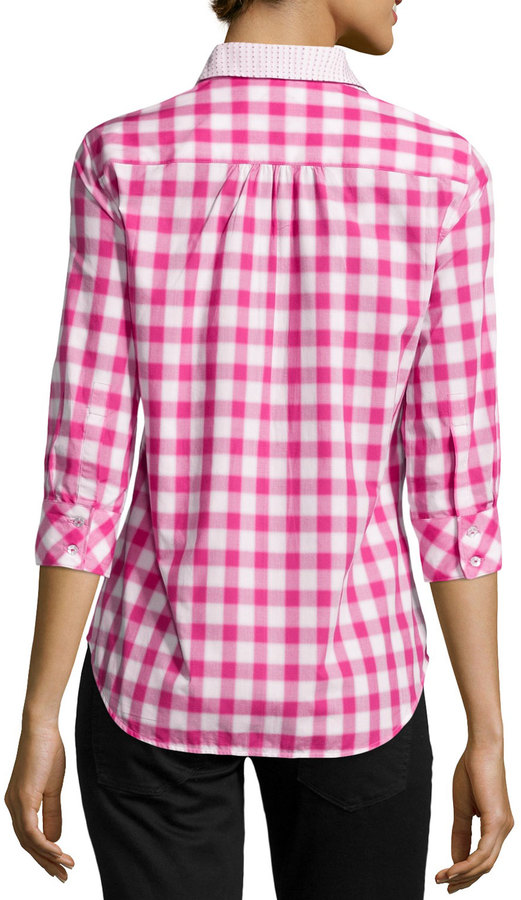 Robert Graham Marina Slim-Fit Plaid Blouse, Pink