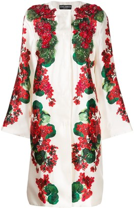Dolce & Gabbana Floral Print Beaded Coat