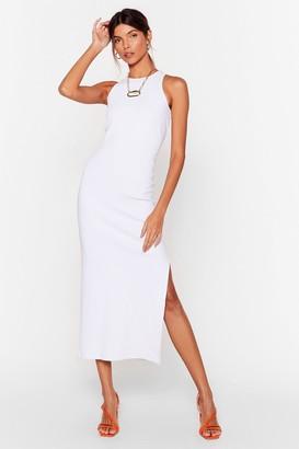 Nasty Gal Womens Standards High Ribbed Midi Dress - White