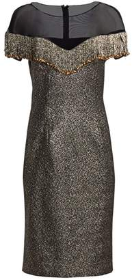Teri Jon By Rickie Freeman Illusion Fringe Metallic Jacquard Midi Dress