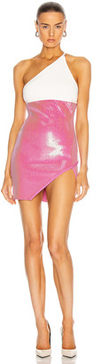 David Koma Contrast Sequin One Shoulder Mini Dress in White & Pink | FWRD