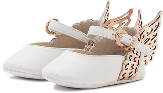 Sophia Webster Evangeline Leather Butterfly-Wing Flat, White, Baby
