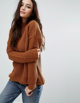 Boohoo Curved Hem Funnel Neck Sweater