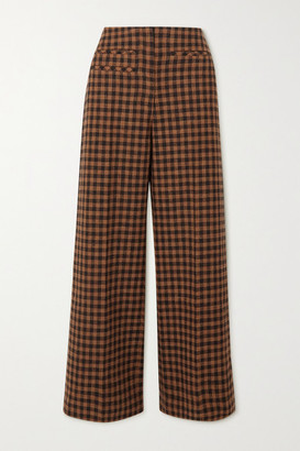 REJINA PYO Lexi Checked Wool And Cotton-blend Wide-leg Pants - Brown