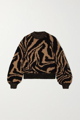 Ganni Jacquard Wool And Alpaca-blend Sweater - Neutral