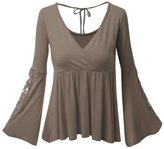 RitaMiska Rita.MK Women's Deep V-Neck Long Sleeve Flared Fall Tunic T-shirt Peplum Tops