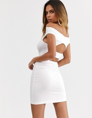 ASOS DESIGN going out bardot cut out back detail mini dress in white