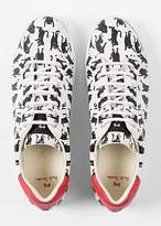 Paul Smith Women's White Leather 'Lapin' Trainers With 'Dancing Cats' Print