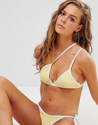 In The Style contrast asymmetric bikini top-Yellow