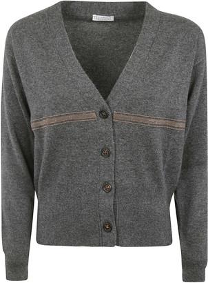 Brunello Cucinelli Mid-stripe Detail V-neck Cardigan