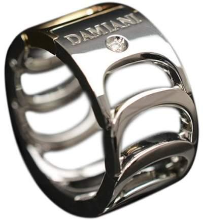 Damiani 18K Rose and White Gold Diamond Ring Size 6.5
