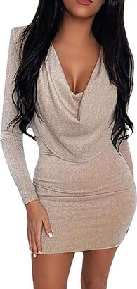 Ihaza Women iHAZA Gown Evening Party Mini Dresses for Women V-Neck Bodycon Sequins Dress Long Sleeve Khaki