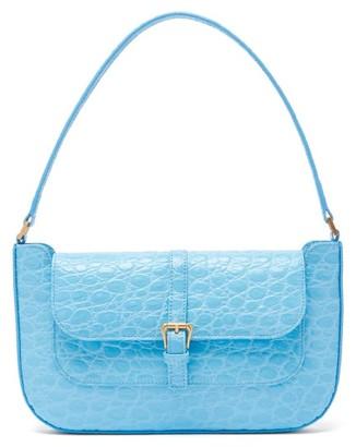 BY FAR Miranda Crocodile-effect Leather Shoulder Bag - Blue