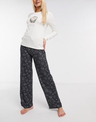 Loungeable hedge-hug super soft long pyjamas set in grey and cream