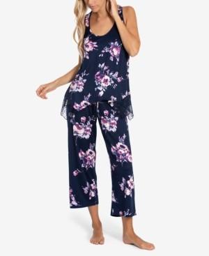 Linea Donatella Cailyn Lace-Trim Tank & Capri Pajama Set